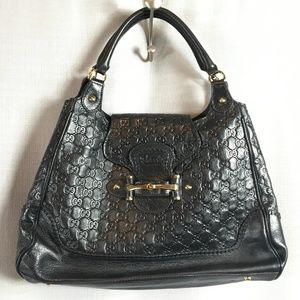 Gucci Guccissima Black Leather Shoulder Bag
